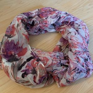 Floral pinks and purples infinity scarf